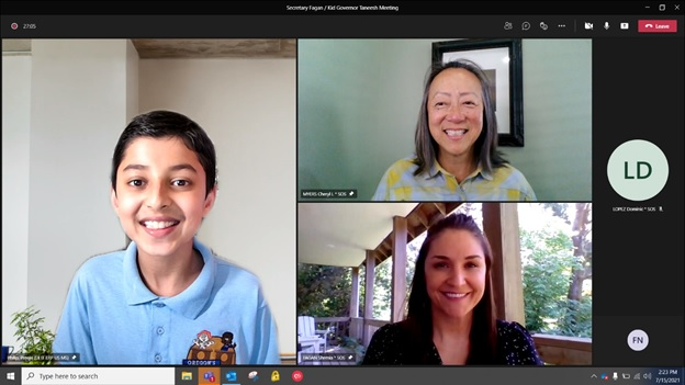 Screen shot of Taneesh, Secretary and Deputy on a remote meeting platform. All are smiling.