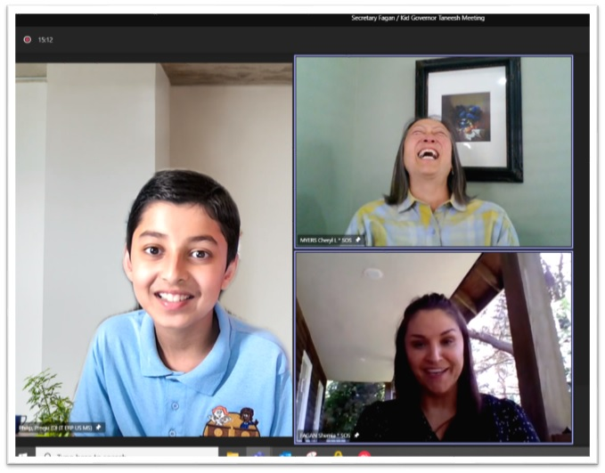 Screen shot of Taneesh, Secretary and Deputy on a remote meeting platform. The Deputy is laughing.