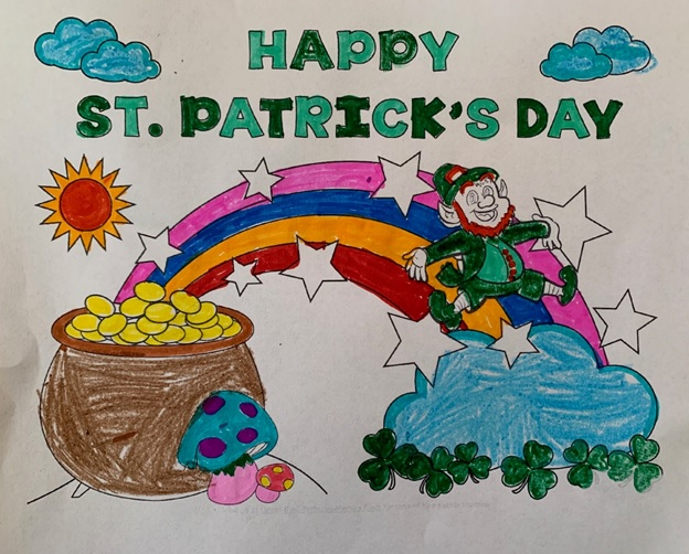 A colored drawing of a pot of gold, rainbow with leprechaun.