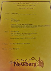 Agenda for local government dinner hosted by the City of Newberg.