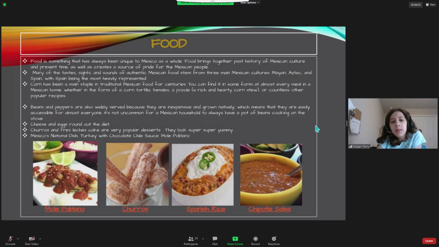 PowerPoint slide with photos of salsa, spanish rice and other Mexican foods.