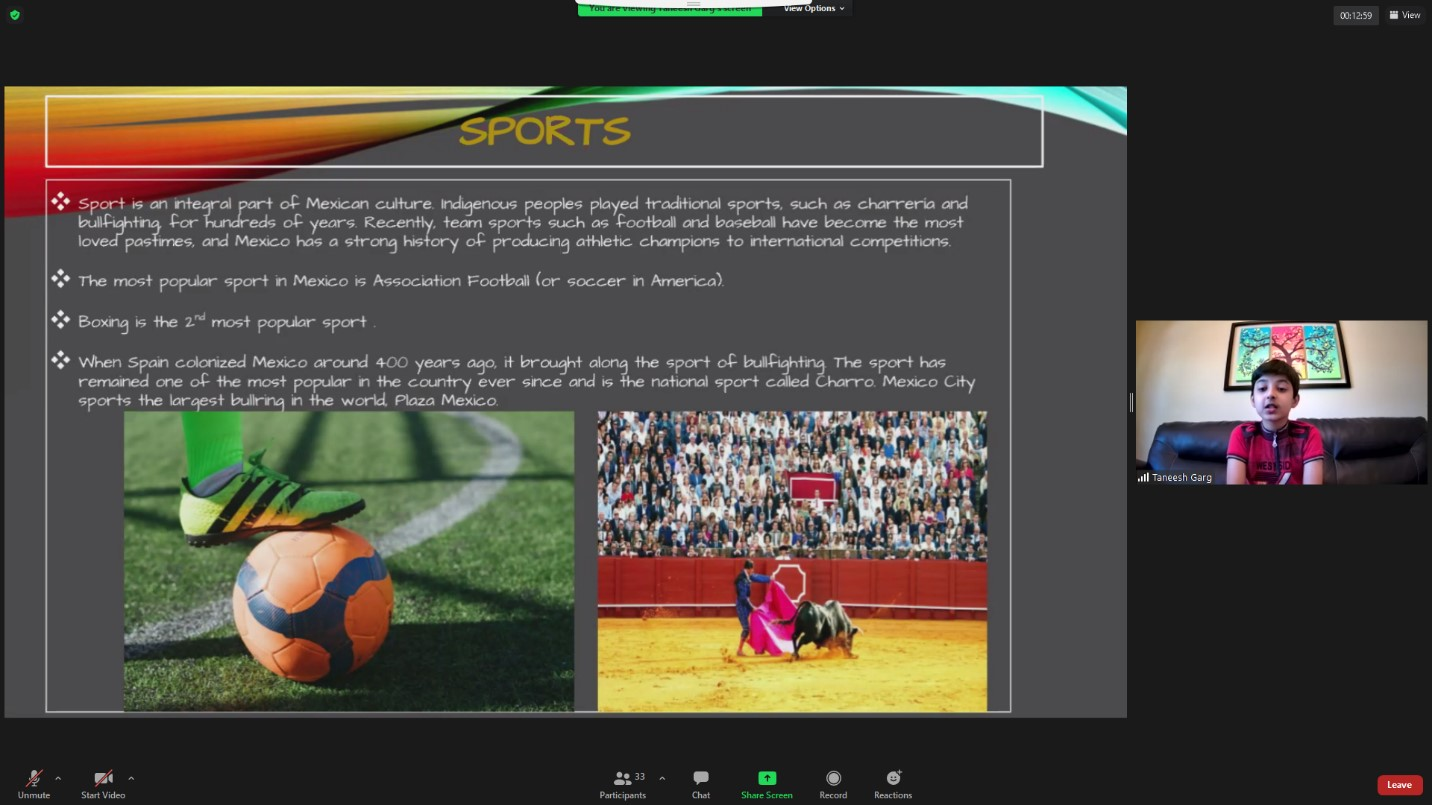 PowerPoint slide with photo of a foot holding a soccer ball and a man in a bull fight.