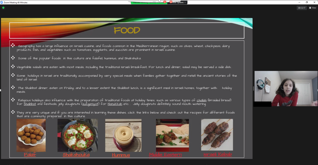 Screen shot of Food section of Taneesh's presentation